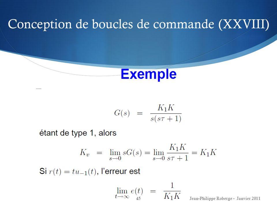 Conception de boucles de commande (XXVIII) 45Jean-Philippe Roberge - Janvier 2011