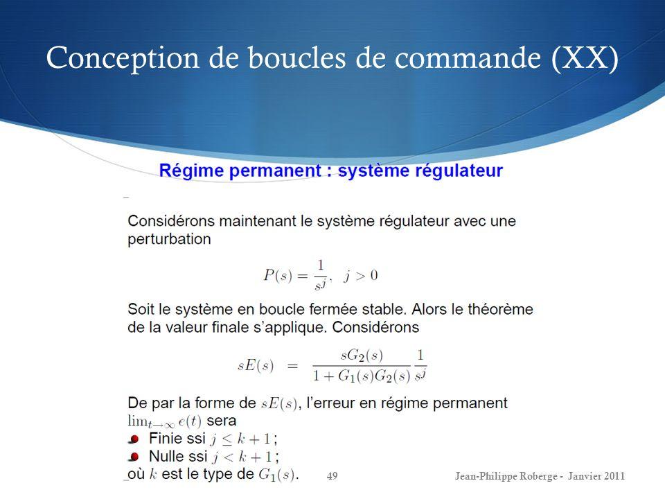 Conception de boucles de commande (XX) 49Jean-Philippe Roberge - Janvier 2011