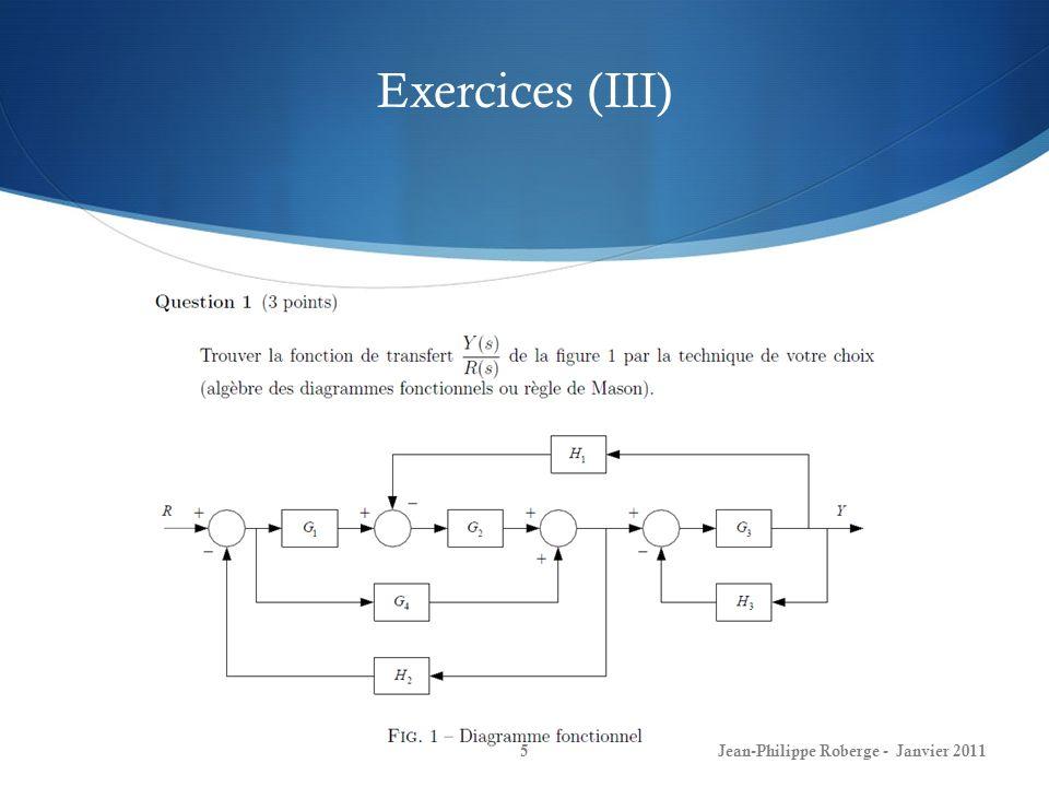 Conception de boucles de commande (III) 26Jean-Philippe Roberge - Janvier 2011 La performance dun système de commande est décrite en termes de plusieurs types de critères: 1) La stabilité: Les pôles sont-ils tous à partie réelle négative (demi-plan gauche).