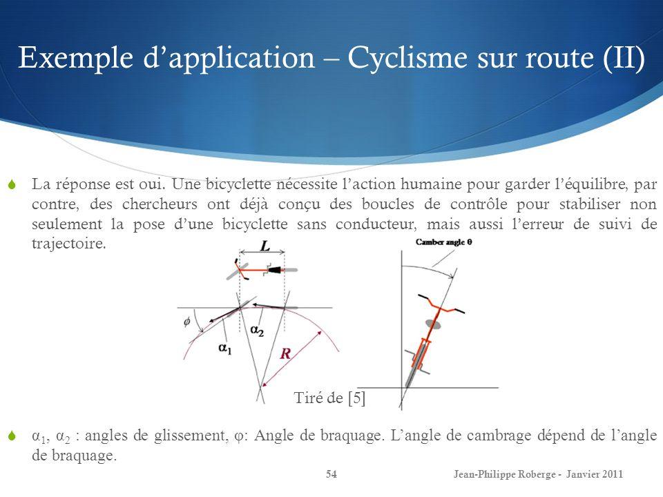 Exemple dapplication – Cyclisme sur route (II) 54Jean-Philippe Roberge - Janvier 2011 La réponse est oui. Une bicyclette nécessite laction humaine pou