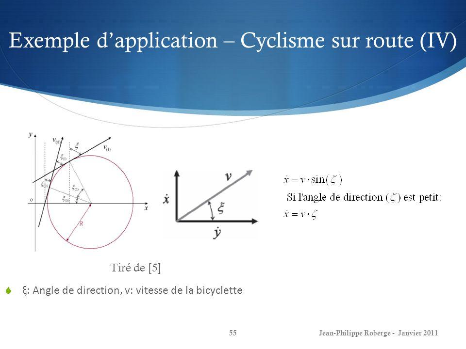 Exemple dapplication – Cyclisme sur route (IV) 55Jean-Philippe Roberge - Janvier 2011 ξ: Angle de direction, v: vitesse de la bicyclette Tiré de [5]