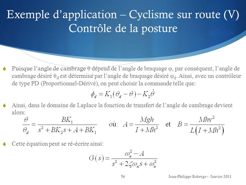 Exemple dapplication – Cyclisme sur route (V) Contrôle de la posture 56Jean-Philippe Roberge - Janvier 2011 Puisque langle de cambrage θ dépend de lan