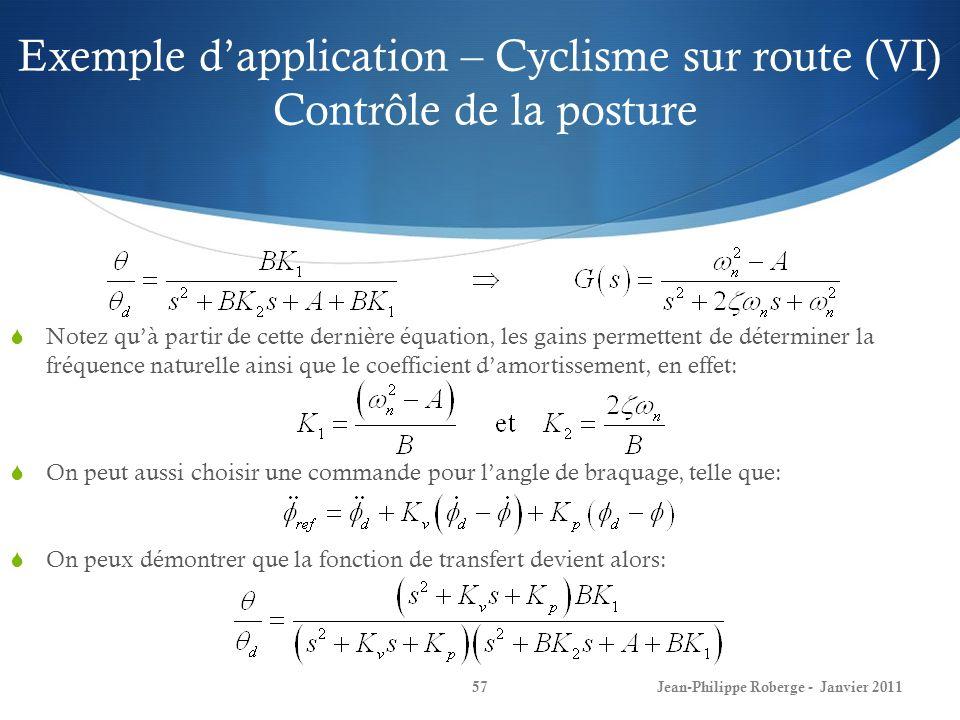 Exemple dapplication – Cyclisme sur route (VI) Contrôle de la posture 57Jean-Philippe Roberge - Janvier 2011 Notez quà partir de cette dernière équati