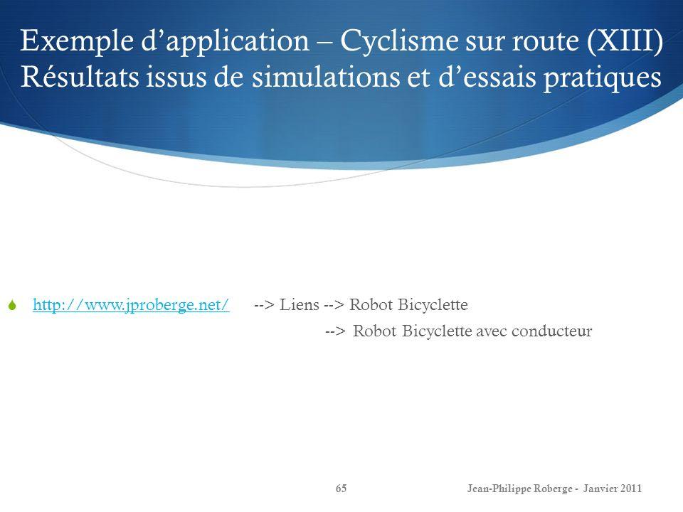 Exemple dapplication – Cyclisme sur route (XIII) Résultats issus de simulations et dessais pratiques 65Jean-Philippe Roberge - Janvier 2011 http://www