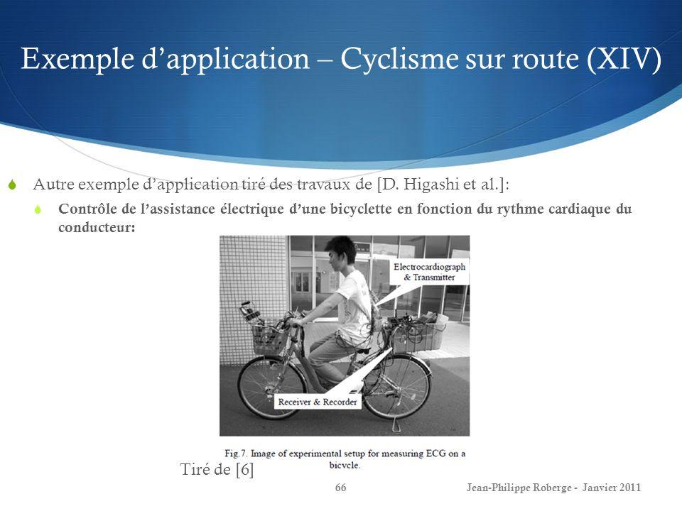 Exemple dapplication – Cyclisme sur route (XIV) 66Jean-Philippe Roberge - Janvier 2011 Autre exemple dapplication tiré des travaux de [D. Higashi et a