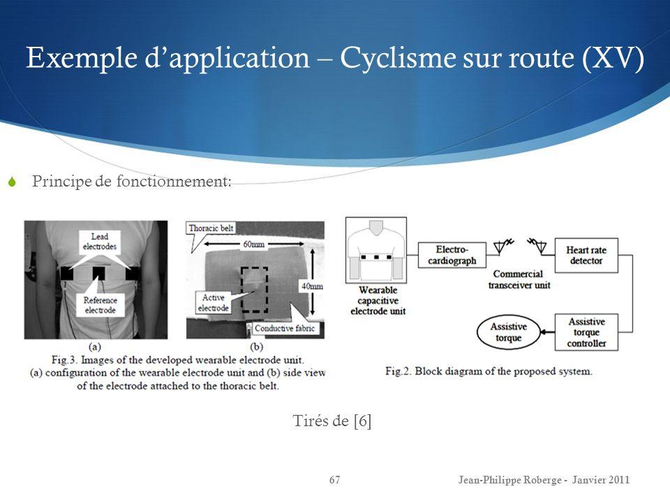 Exemple dapplication – Cyclisme sur route (XV) 67Jean-Philippe Roberge - Janvier 2011 Principe de fonctionnement: Tirés de [6]