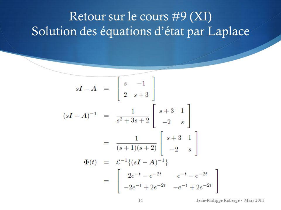 Retour sur le cours #9 (XI) Solution des équations détat par Laplace Jean-Philippe Roberge - Mars 201114