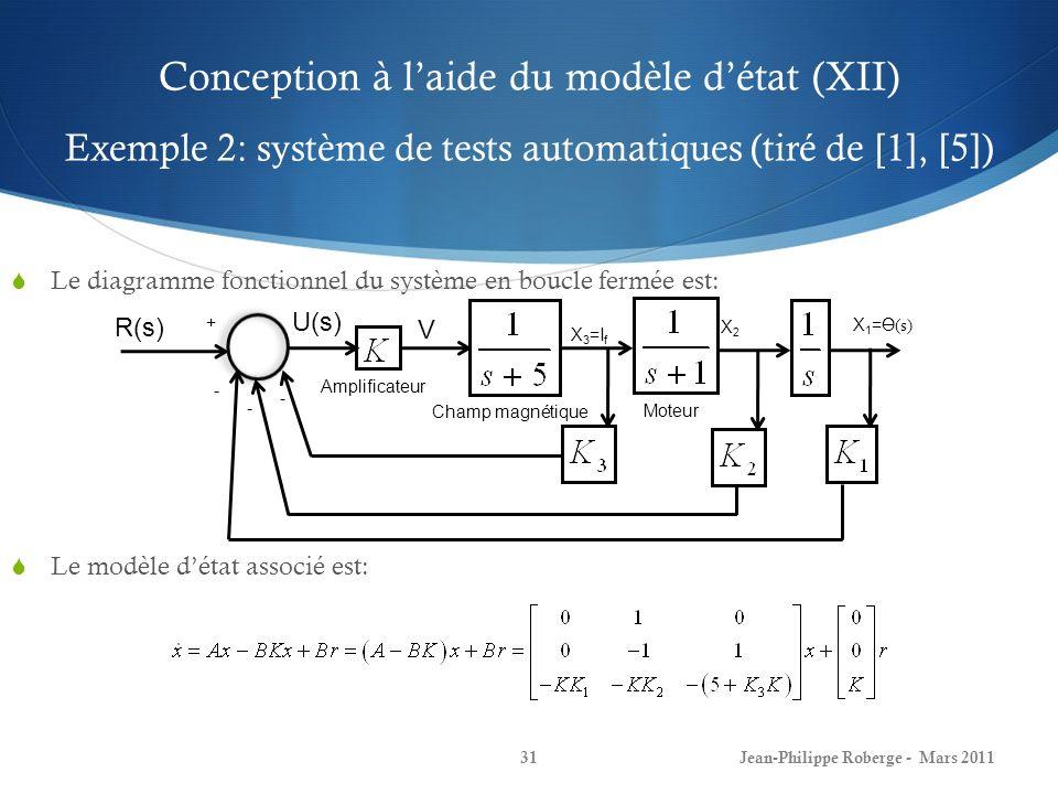Conception à laide du modèle détat (XII) Exemple 2: système de tests automatiques (tiré de [1], [5]) Le diagramme fonctionnel du système en boucle fermée est: Le modèle détat associé est: Jean-Philippe Roberge - Mars 201131 U(s) Amplificateur Champ magnétique Moteur V X 3 =I f X2X2 X 1 = (s) - - - R(s) +