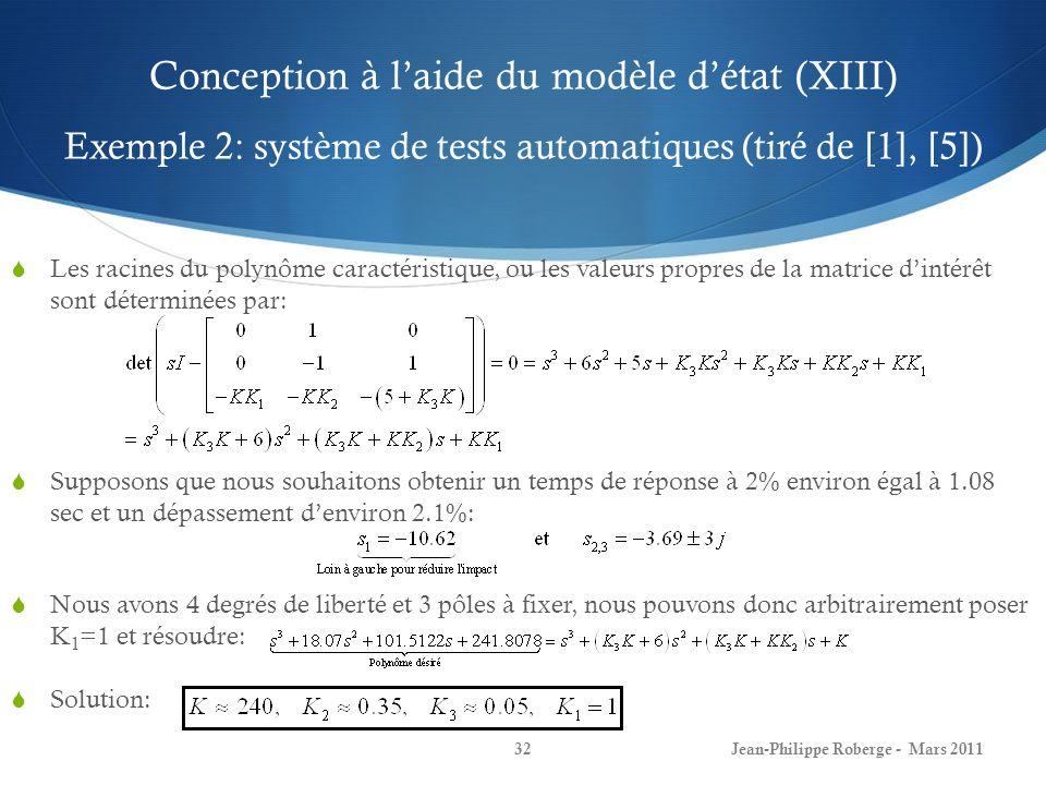Conception à laide du modèle détat (XIII) Exemple 2: système de tests automatiques (tiré de [1], [5]) Les racines du polynôme caractéristique, ou les valeurs propres de la matrice dintérêt sont déterminées par: Supposons que nous souhaitons obtenir un temps de réponse à 2% environ égal à 1.08 sec et un dépassement denviron 2.1%: Nous avons 4 degrés de liberté et 3 pôles à fixer, nous pouvons donc arbitrairement poser K 1 =1 et résoudre: Solution: Jean-Philippe Roberge - Mars 201132