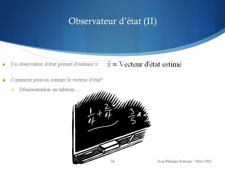 Observateur détat (II) Un observateur détat permet destimer x: Comment peut-on estimer le vecteur détat.