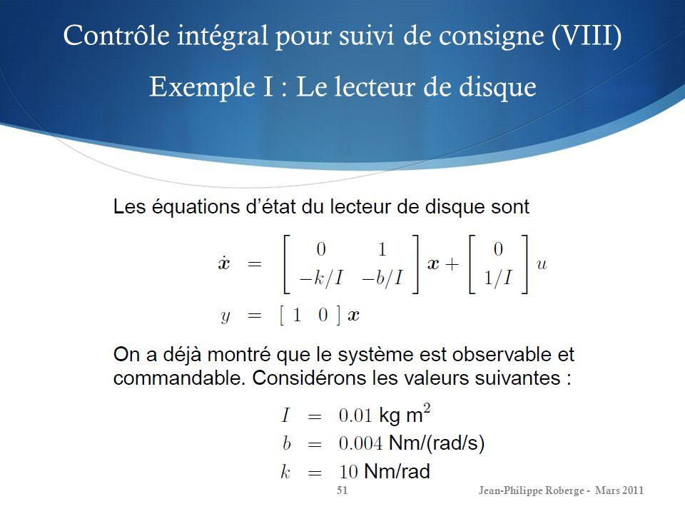 Contrôle intégral pour suivi de consigne (VIII) Exemple I : Le lecteur de disque Jean-Philippe Roberge - Mars 201151