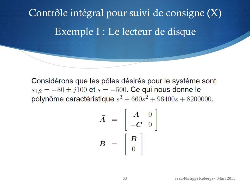 Contrôle intégral pour suivi de consigne (X) Exemple I : Le lecteur de disque Jean-Philippe Roberge - Mars 201153