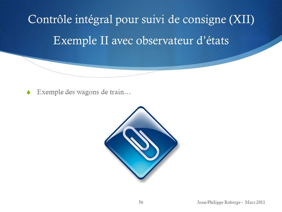 Contrôle intégral pour suivi de consigne (XII) Exemple II avec observateur détats Exemple des wagons de train… Jean-Philippe Roberge - Mars 201156