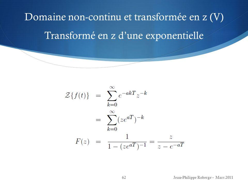 Domaine non-continu et transformée en z (V) Transformé en z dune exponentielle Jean-Philippe Roberge - Mars 201162