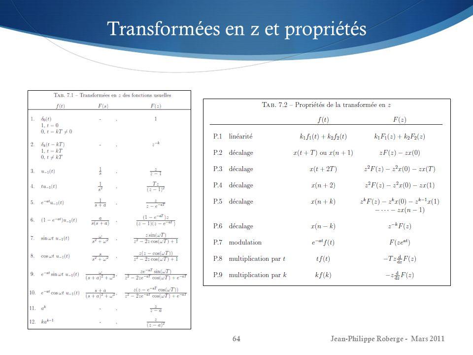 Jean-Philippe Roberge - Mars 201164 Transformées en z et propriétés