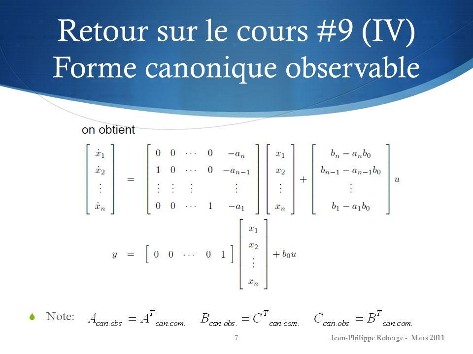Retour sur le cours #9 (XV) Exemple – système masse-ressort avec friction Jean-Philippe Roberge - Mars 201118 Commandabilité: Observabilité: