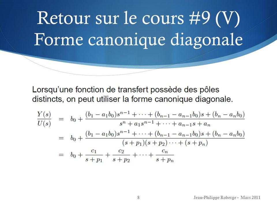 Retour sur le cours #9 (VI) Forme canonique diagonale Jean-Philippe Roberge - Mars 20119