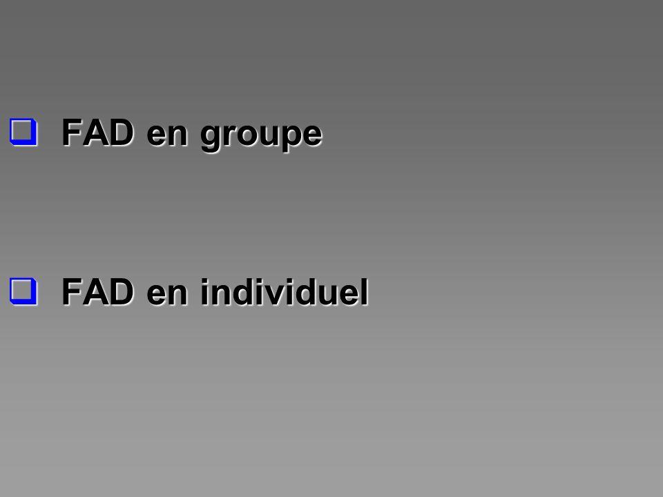 FAD en groupe FAD en groupe FAD en individuel FAD en individuel