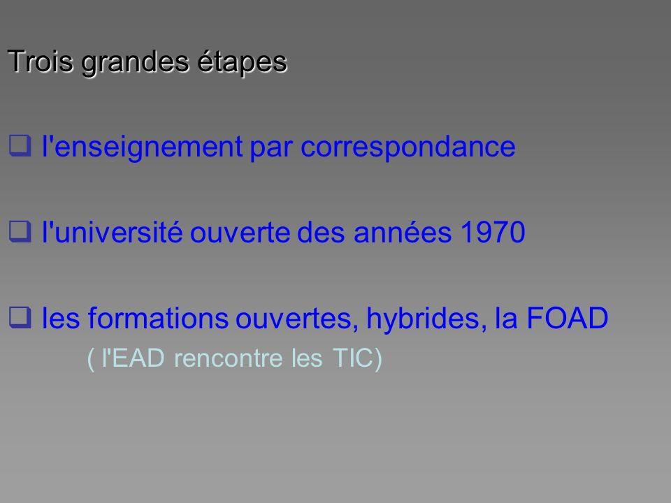 Trois grandes étapes l'enseignement par correspondance l'université ouverte des années 1970 les formations ouvertes, hybrides, la FOAD ( l'EAD rencont