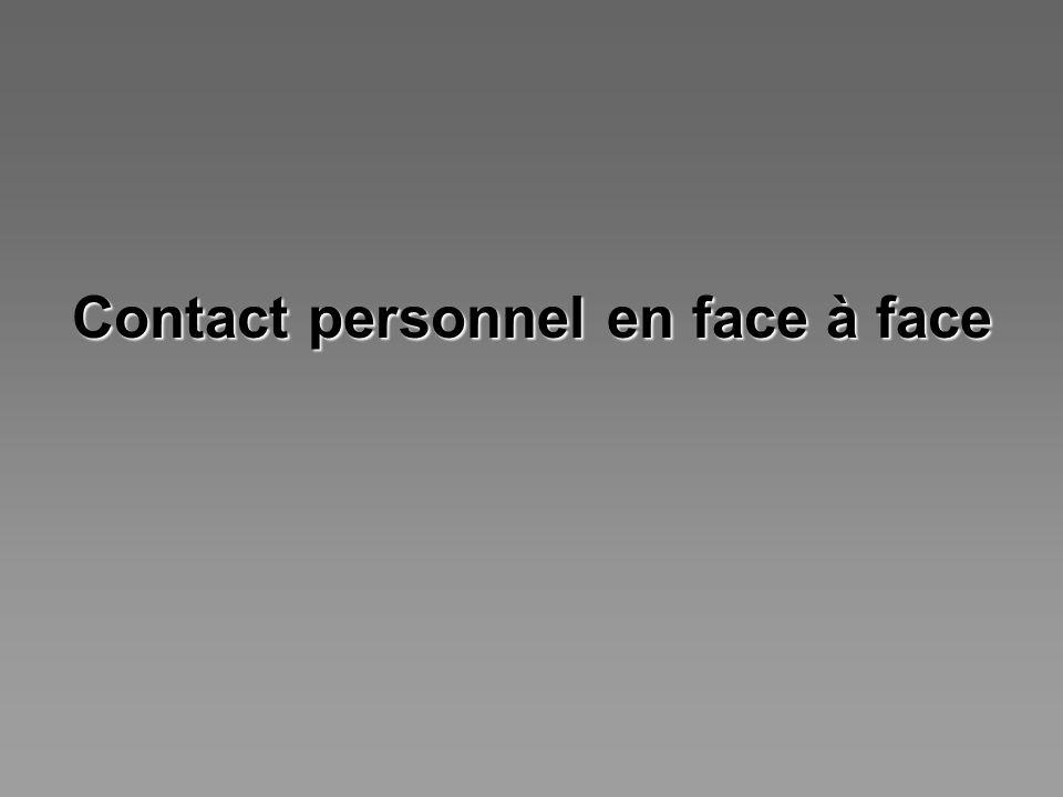 Contact personnel en face à face