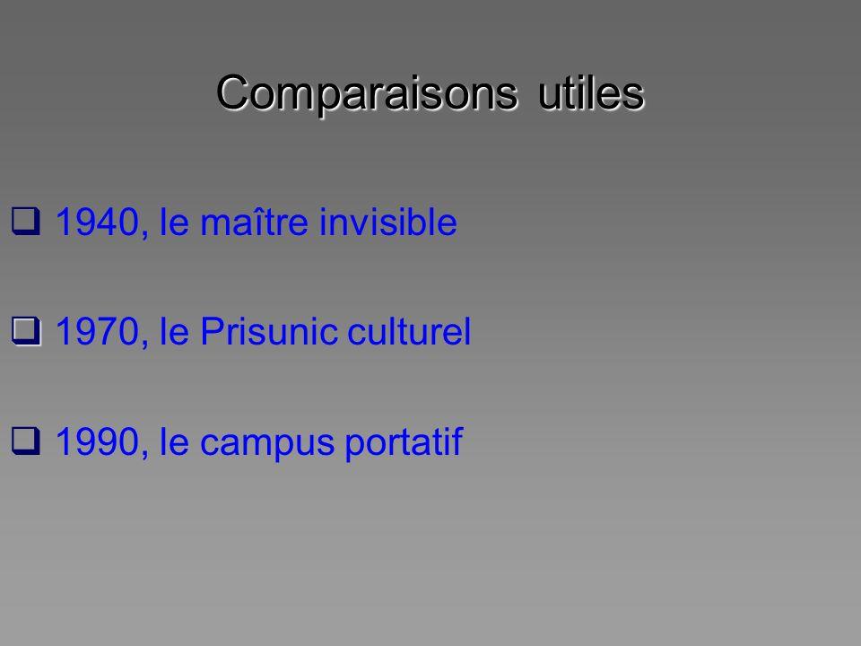 Comparaisons utiles 1940, le maître invisible 1970, le Prisunic culturel 1990, le campus portatif