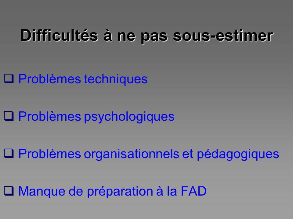Difficultés à ne pas sous-estimer Problèmes techniques Problèmes psychologiques Problèmes organisationnels et pédagogiques Manque de préparation à la