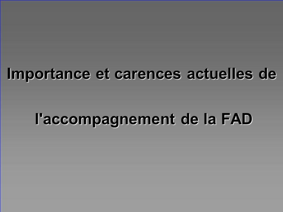 Importance et carences actuelles de l'accompagnement de la FAD l'accompagnement de la FAD