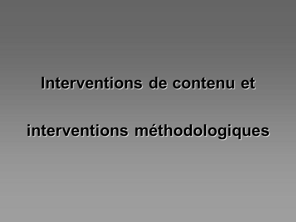Interventions de contenu et interventions méthodologiques