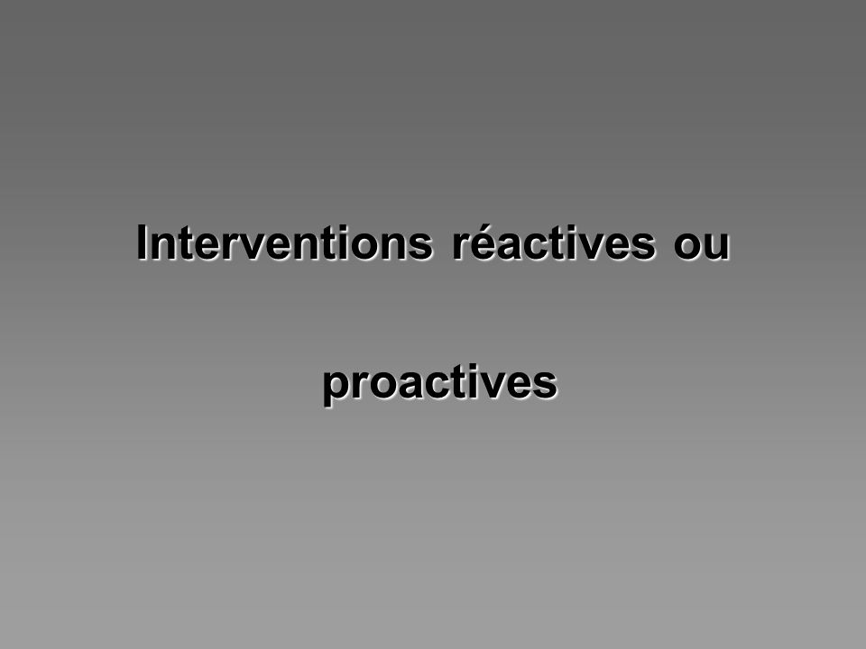 Interventions réactives ou proactives proactives