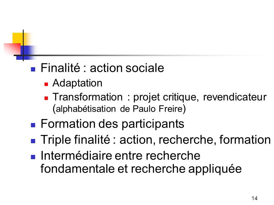 14 Finalité : action sociale Adaptation Transformation : projet critique, revendicateur ( alphabétisation de Paulo Freire ) Formation des participants