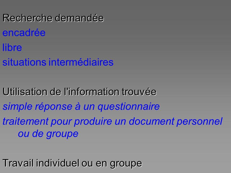 Recherche demandée encadrée libre situations intermédiaires Utilisation de l'information trouvée simple réponse à un questionnaire traitement pour pro