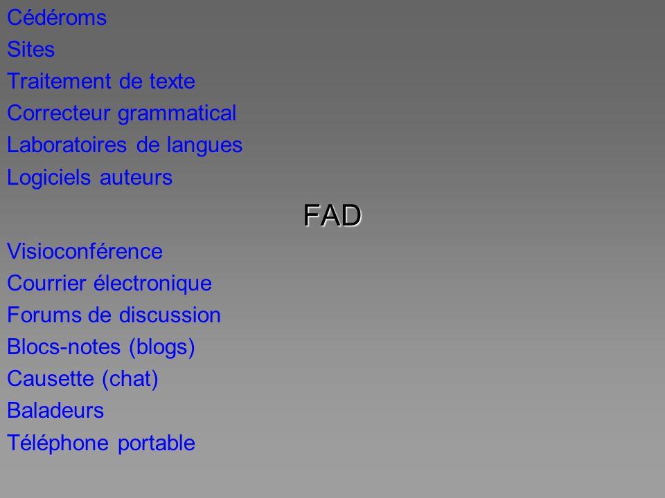 Cédéroms Sites Traitement de texte Correcteur grammatical Laboratoires de langues Logiciels auteursFAD Visioconférence Courrier électronique Forums de