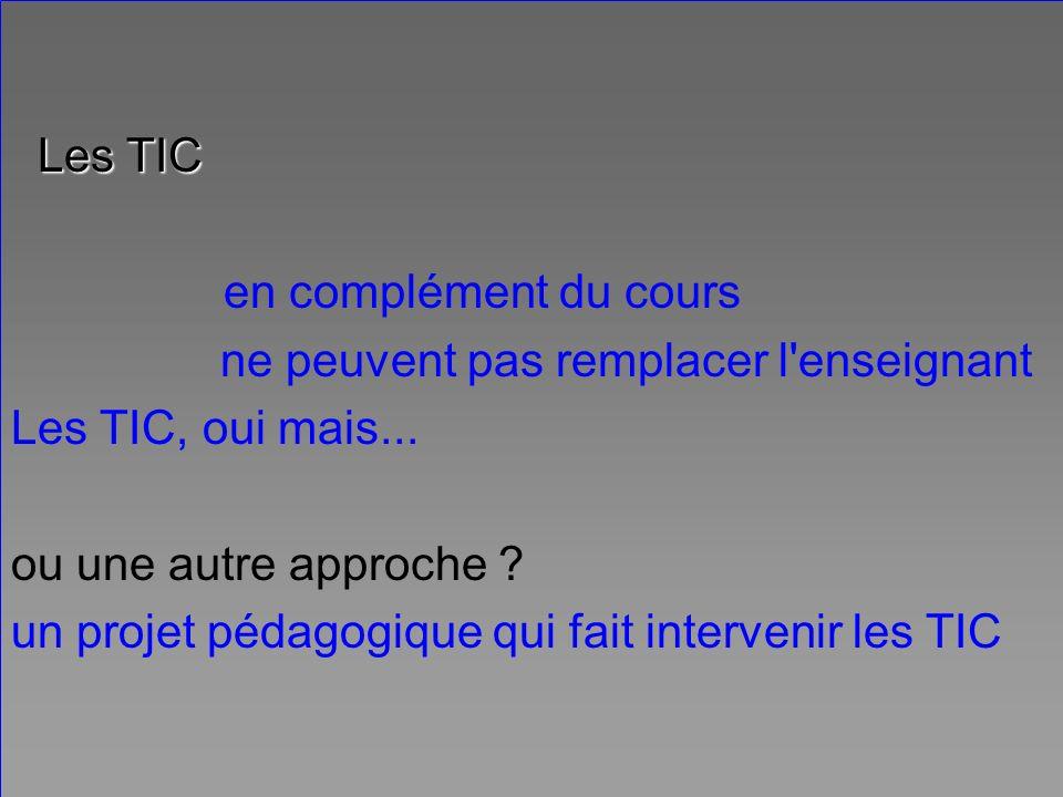 Examiner le projet pédagogique dans son ensemble Type de scénario Rôle des TIC Rôle de l encadrement (enseignant ou tuteur ou...) Relation enseignant / apprenant Changements (ou non) par rapport au cours classique