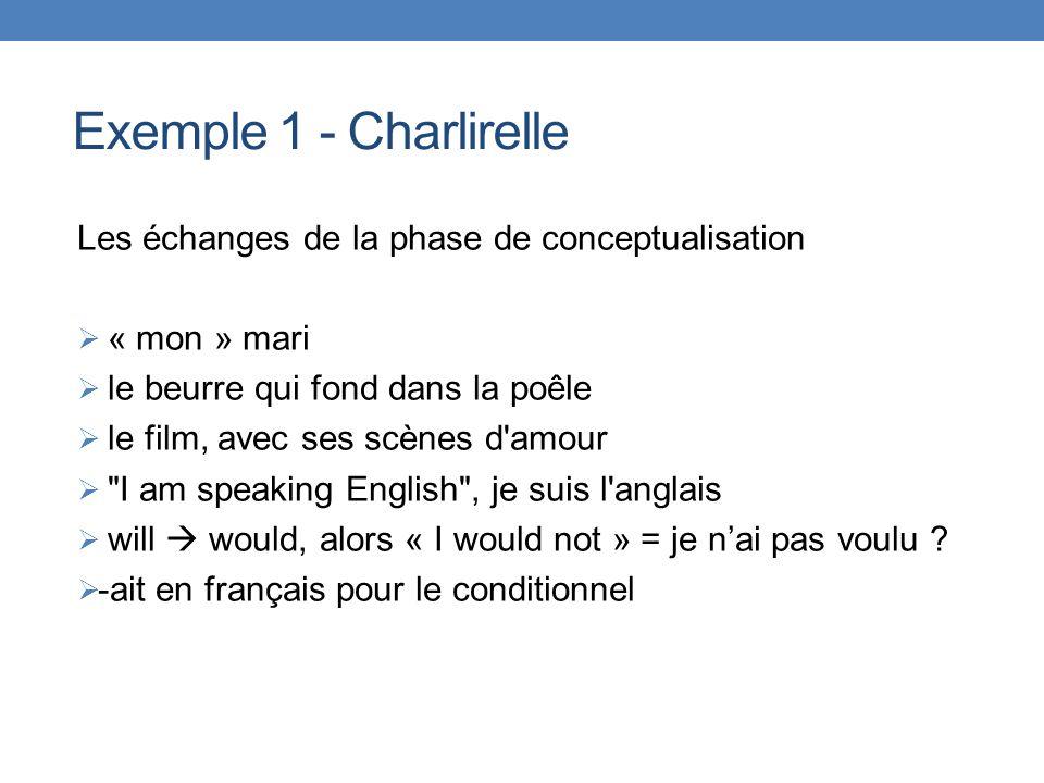 Exemple 1 - Charlirelle Les échanges de la phase de conceptualisation « mon » mari le beurre qui fond dans la poêle le film, avec ses scènes d'amour