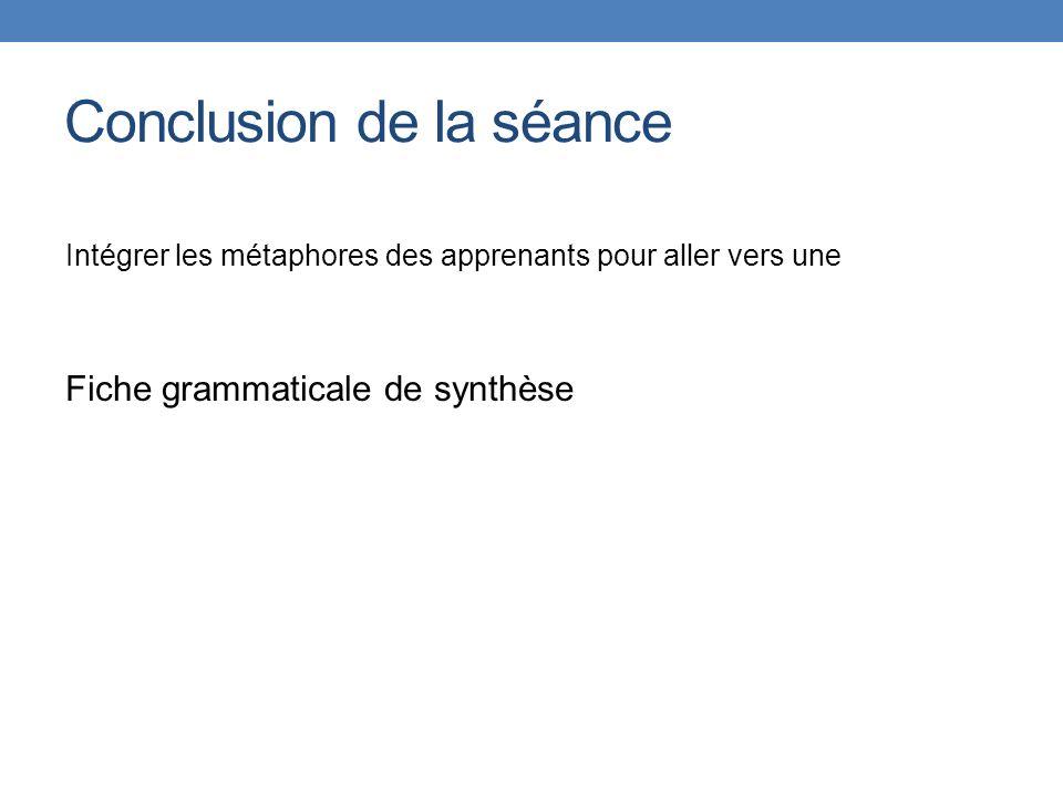 Conclusion de la séance Intégrer les métaphores des apprenants pour aller vers une Fiche grammaticale de synthèse