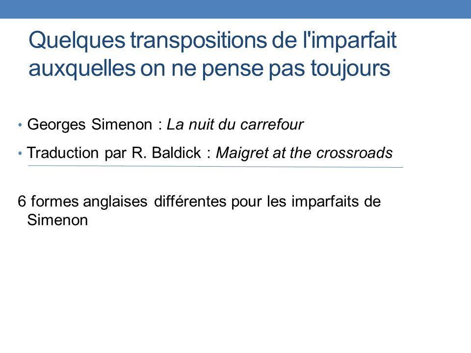 Quelques transpositions de l'imparfait auxquelles on ne pense pas toujours Georges Simenon : La nuit du carrefour Traduction par R. Baldick : Maigret