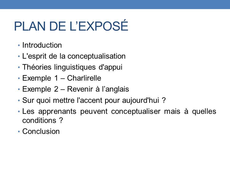 PLAN DE LEXPOSÉ Introduction L'esprit de la conceptualisation Théories linguistiques d'appui Exemple 1 – Charlirelle Exemple 2 – Revenir à langlais Su