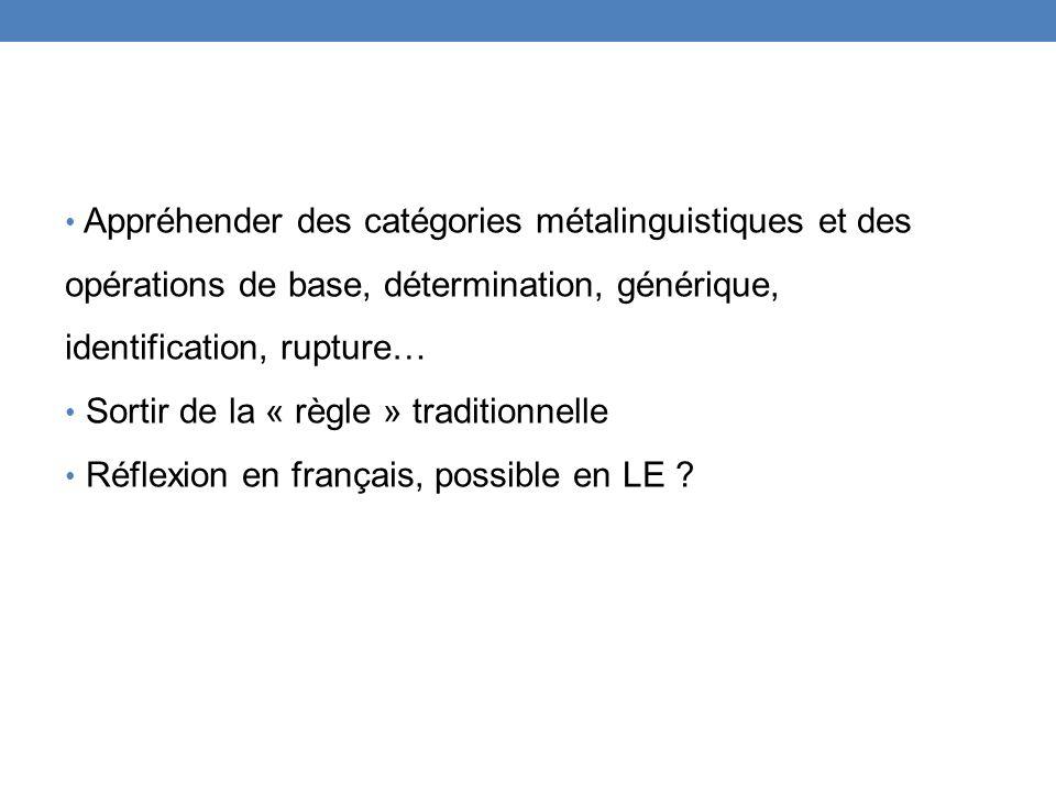Appréhender des catégories métalinguistiques et des opérations de base, détermination, générique, identification, rupture… Sortir de la « règle » trad