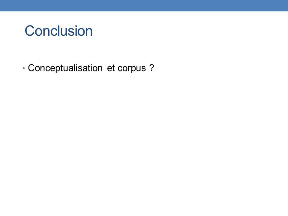 Conclusion Conceptualisation et corpus ?