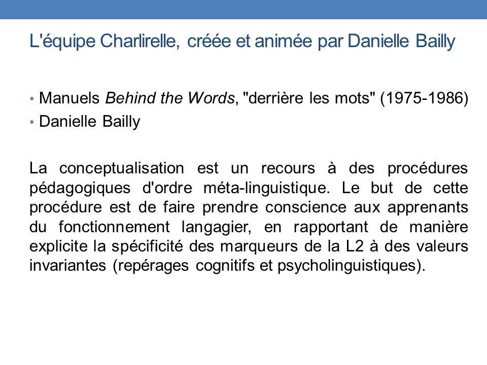 L'équipe Charlirelle, créée et animée par Danielle Bailly Manuels Behind the Words,