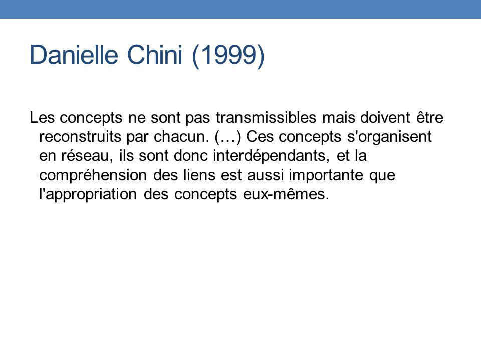 Danielle Chini (1999) Les concepts ne sont pas transmissibles mais doivent être reconstruits par chacun. (…) Ces concepts s'organisent en réseau, ils