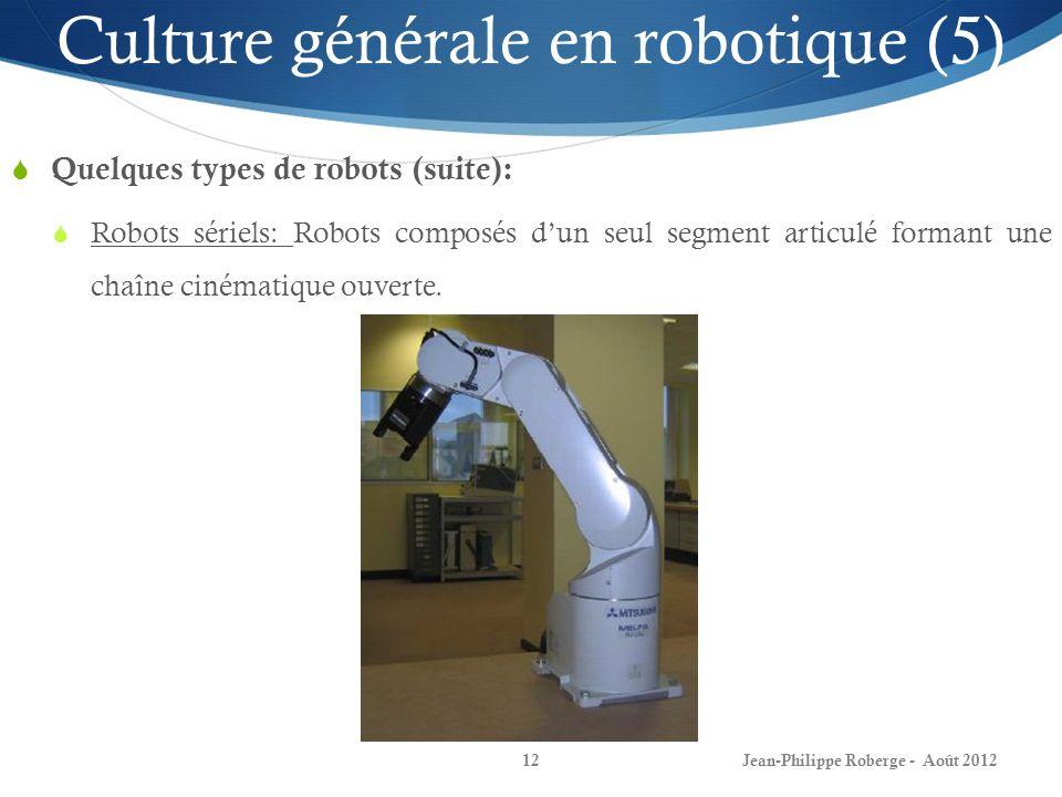 Jean-Philippe Roberge - Août 201212 Culture générale en robotique (5) Quelques types de robots (suite): Robots sériels: Robots composés dun seul segme