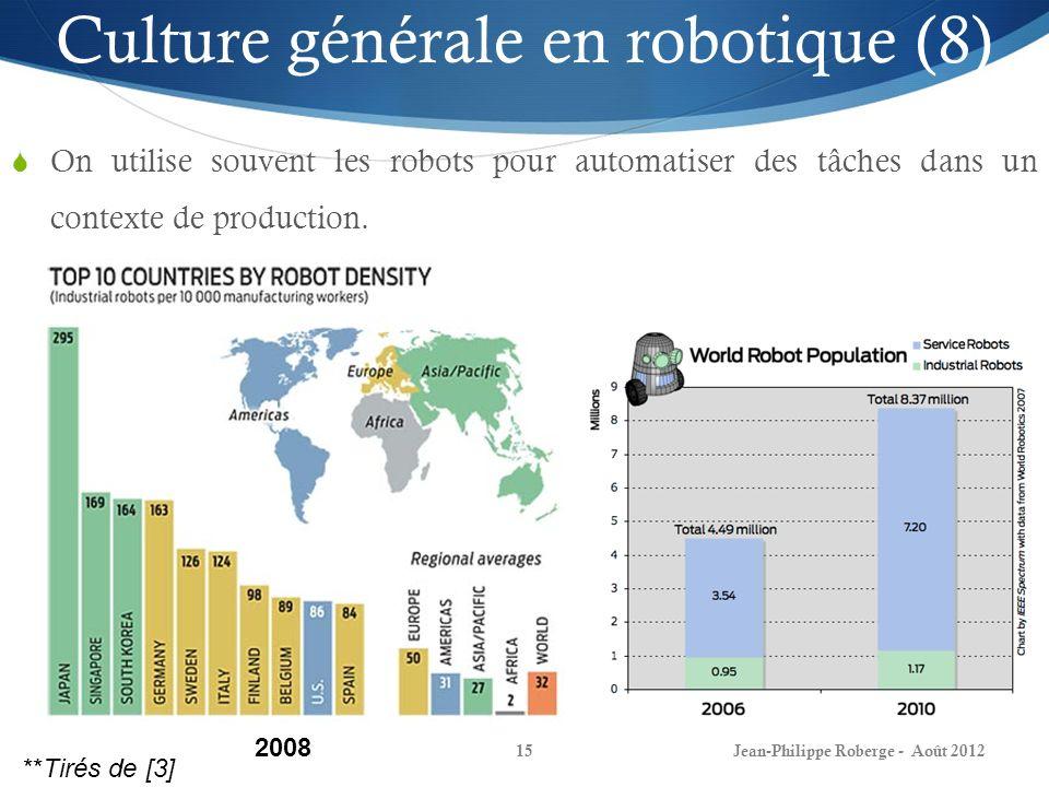 Jean-Philippe Roberge - Août 201215 Culture générale en robotique (8) On utilise souvent les robots pour automatiser des tâches dans un contexte de pr