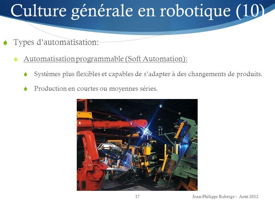 Jean-Philippe Roberge - Août 201217 Culture générale en robotique (10) Types dautomatisation: Automatisation programmable (Soft Automation): Systèmes