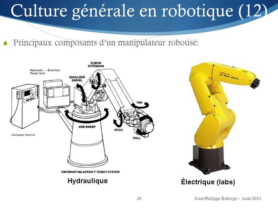 Jean-Philippe Roberge - Août 201220 Culture générale en robotique (12) Principaux composants dun manipulateur robotisé: Hydraulique Électrique (labs)