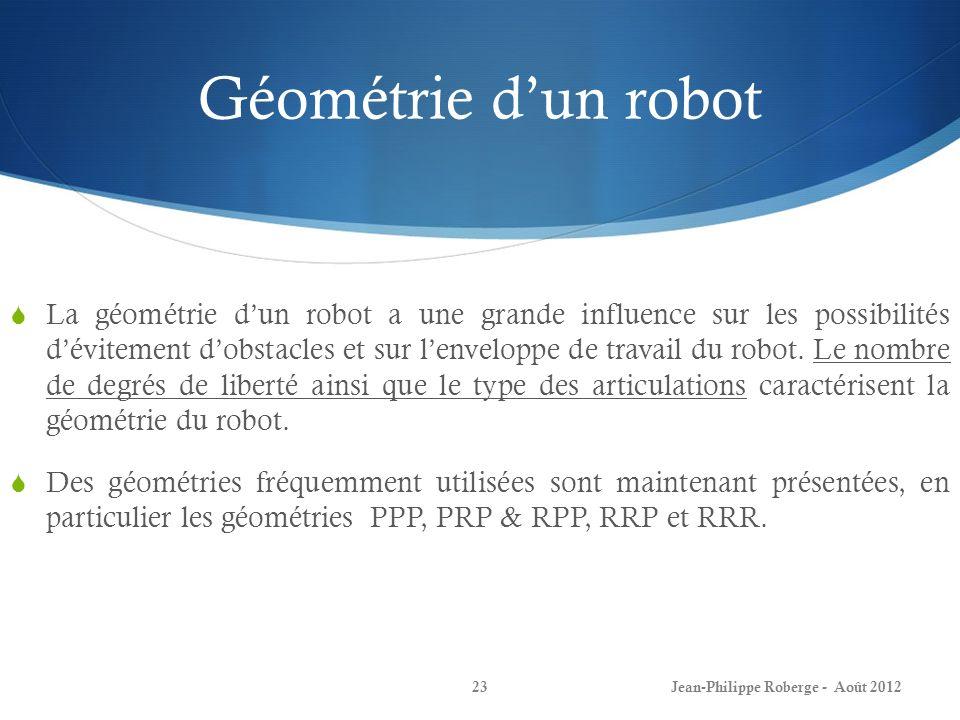 Géométrie dun robot La géométrie dun robot a une grande influence sur les possibilités dévitement dobstacles et sur lenveloppe de travail du robot. Le