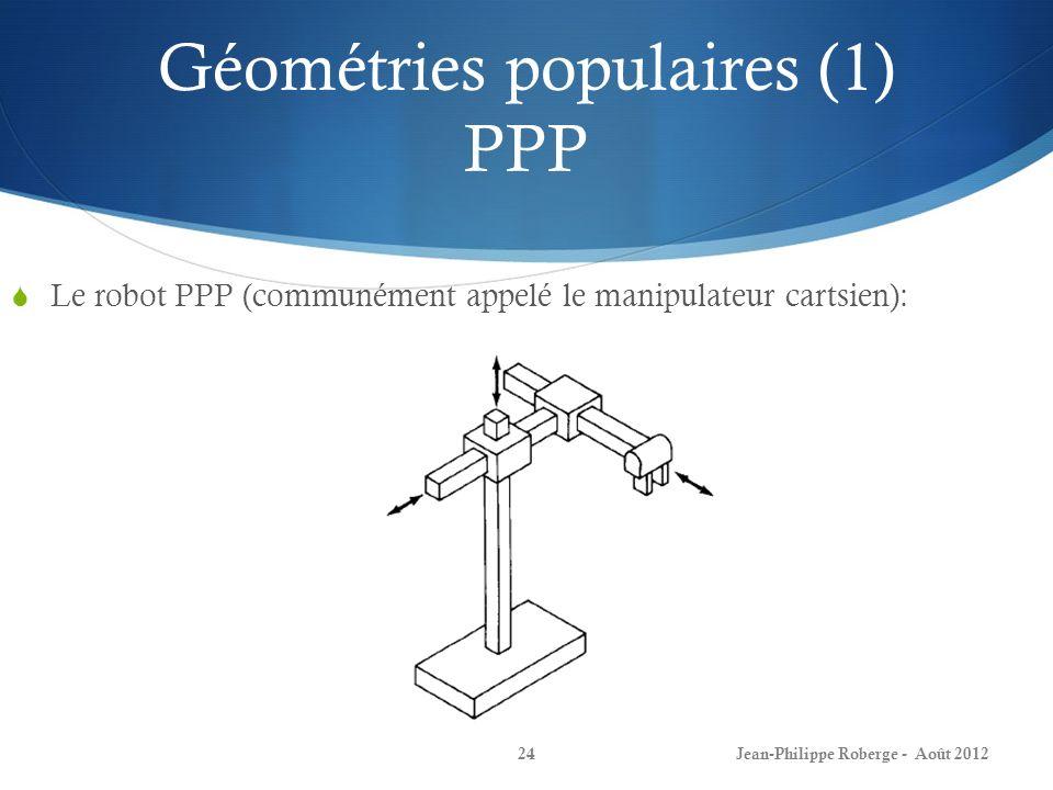 Géométries populaires (1) PPP Le robot PPP (communément appelé le manipulateur cartsien): Jean-Philippe Roberge - Août 201224