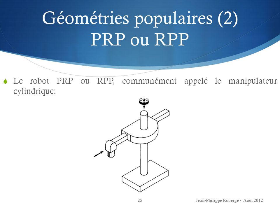 Géométries populaires (2) PRP ou RPP Le robot PRP ou RPP, communément appelé le manipulateur cylindrique: Jean-Philippe Roberge - Août 201225