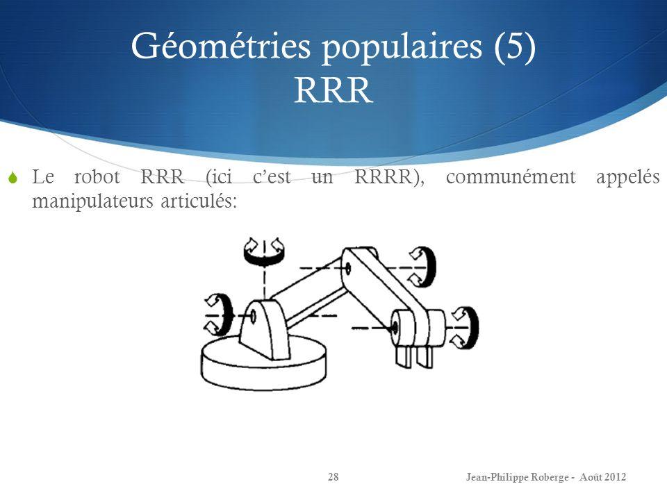 Géométries populaires (5) RRR Le robot RRR (ici cest un RRRR), communément appelés manipulateurs articulés: Jean-Philippe Roberge - Août 201228