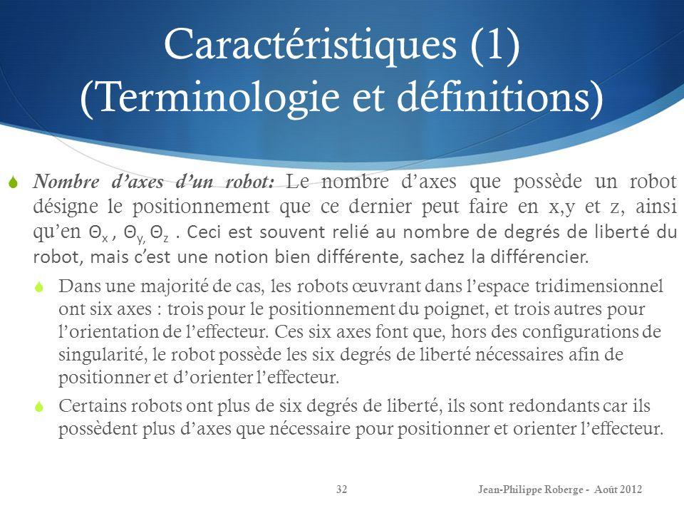 Caractéristiques (1) (Terminologie et définitions) Nombre daxes dun robot: Le nombre daxes que possède un robot désigne le positionnement que ce derni